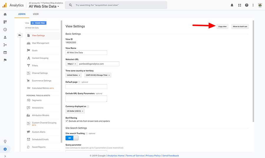 copy view in google analytics