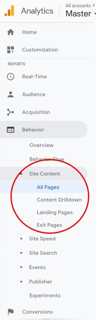 google analytics site content reports
