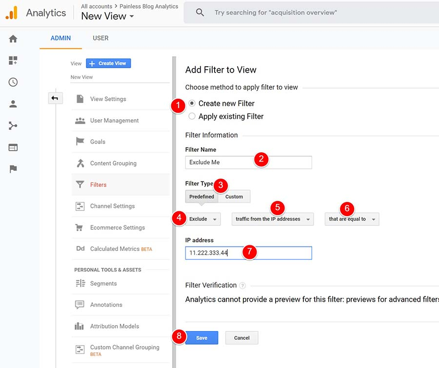 steps for creating ip filter in google analytics