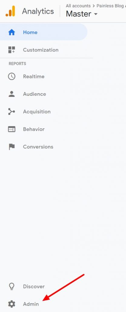 click on gear icon to add a user to google analytics