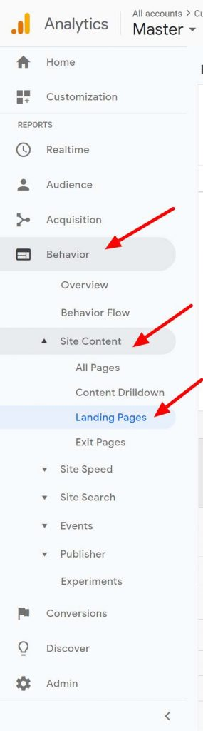 how to get to landing pages report