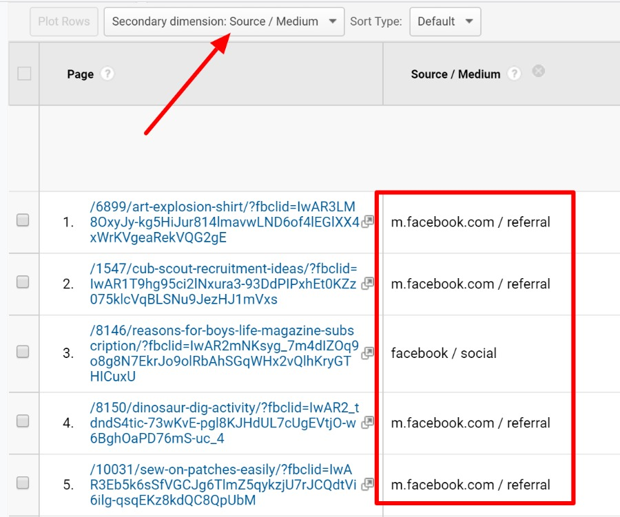 fbclid showing facebook as source