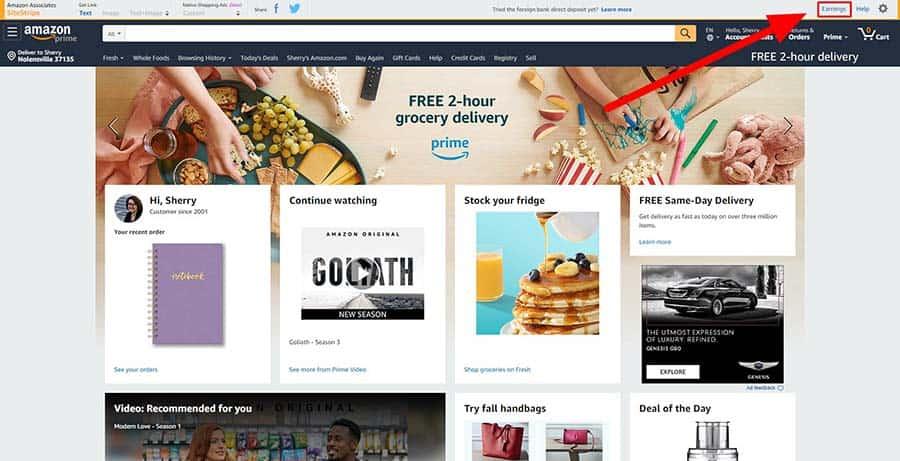 Amazon sitestripe earnings link