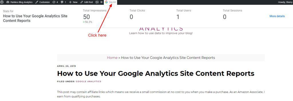 google site kit data on individual posts