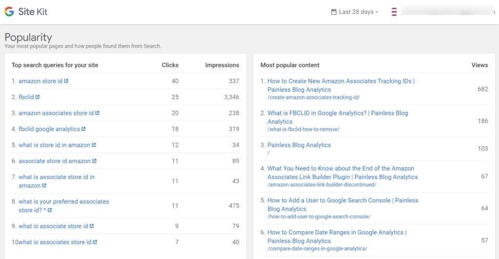 popularity in site kit