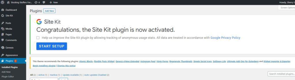 site kit is now active screenshot