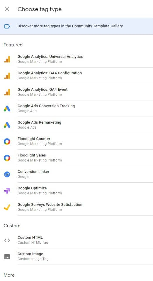 Google Tag Manager tag types